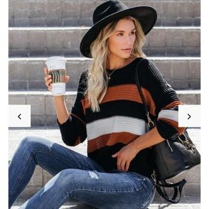 Vici Younes Button Detailed Strip Knit Sweater
